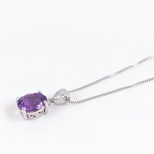 925 Sterling Amethyst Pendant Necklace NEW